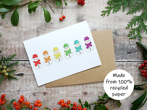 Rainbow snowmen card LGBT on recycled paper