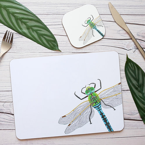 Silverpasta illustrated blue dragonfly table place mats and coasters on table