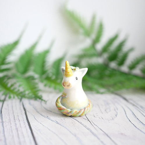 Handmade unicorn ornament made from air dry clay