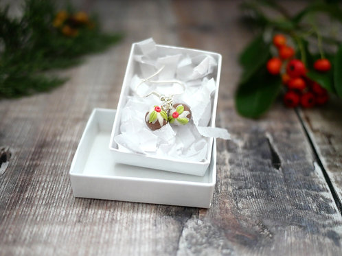 tiny handmade christmas pudding earrings in a white recycled gift box