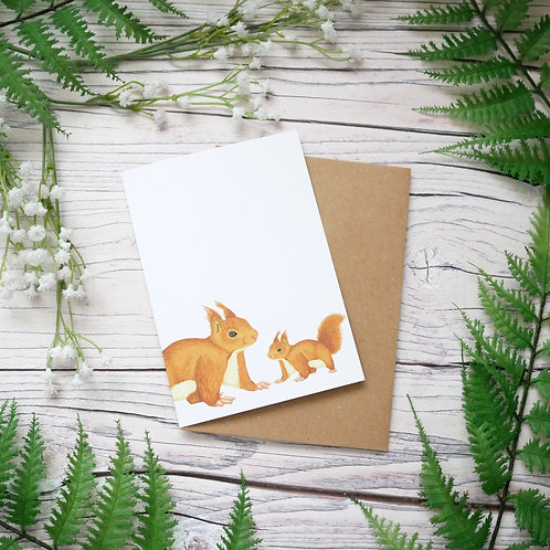 Red squirrel mothers day recycled greetings card with plastic-free compostable wrapper
