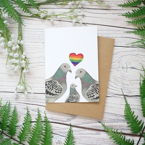 Lesbian mother's day pigeons card made from 100% recycled paper designed by Jess Smith from Silverpasta Crafts