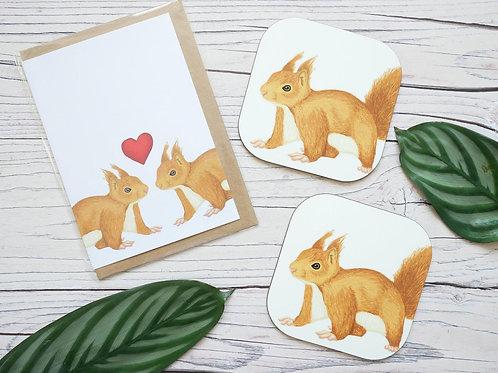 Red Squirrel Card & Coaster Set