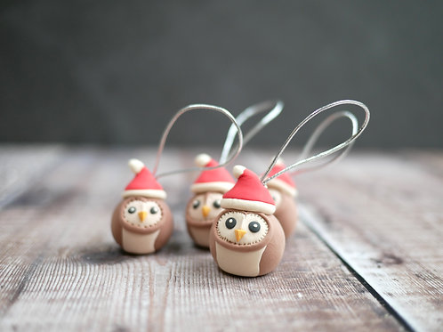 Handmade owl christmas tree decorations made by Silverpasta Crafts
