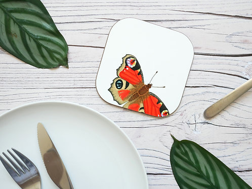 Silverpasta illustrated 10cm coaster featuring red peacock butterfly