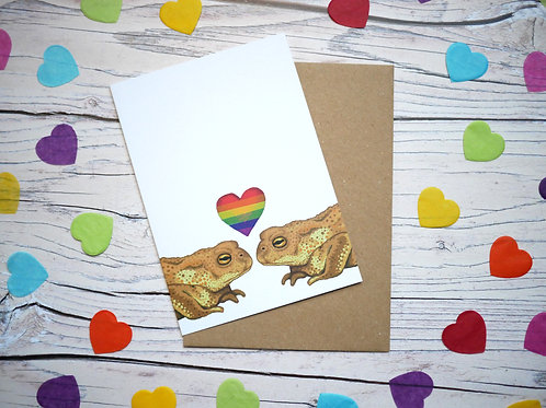 Rainbow LGBT toad valentine's day card by Silverpasta Crafts