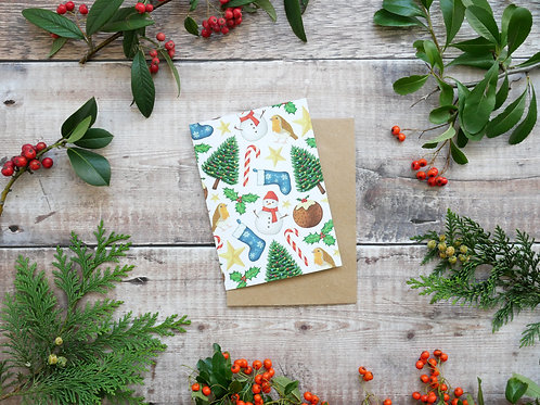 Illustrated traditional christmas icons card made from recycled paper and eco friendly plastic-free wrapper
