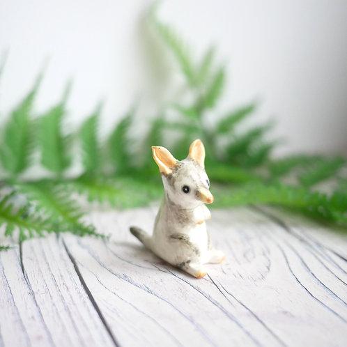 Handmade tiny bilby ornament by Jess Smith from Silverpasta Crafts