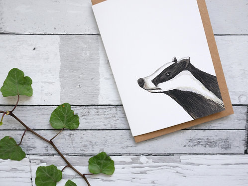 Silverpasta illustrated animal greetings card made from recycled paper featuring a badger with plastic free packaging