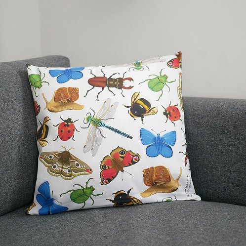 Illustrated Silverpasta British insects invertebrates animal wildlife inspired cushion cover made from cotton