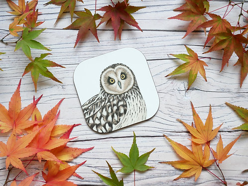 Short eared owl illustrated coaster by Silverpasta Crafts
