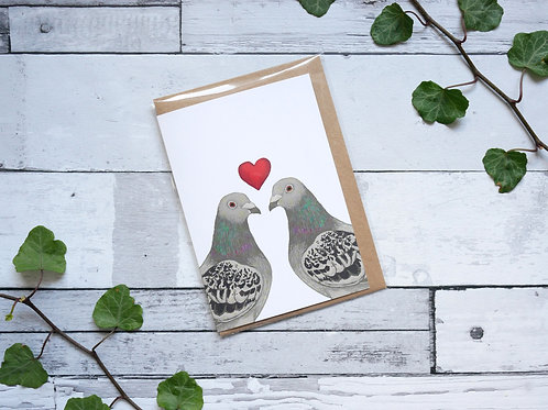 Silverpasta illustrated valentine's card recycled paper two pigeons with a red heart plastic free packaging