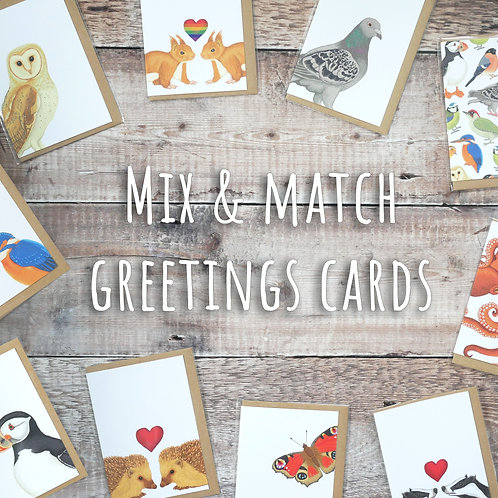 Mix & Match Greetings Card Set - Eco Friendly, 100% Recycled