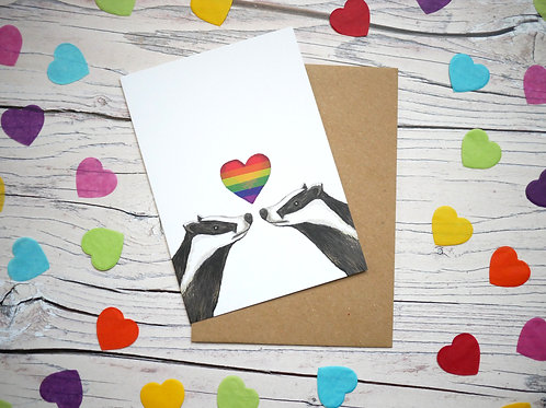 LGBT gay rainbow badger valentines day card illustrated by Silverpasta Crafts