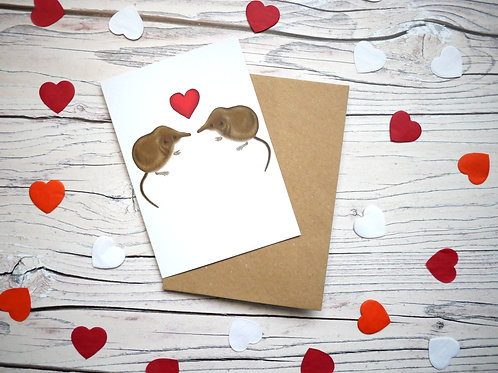 Valentine's day pygmy shrew card made from recycled paper illustrated by Silverpasta Crafts