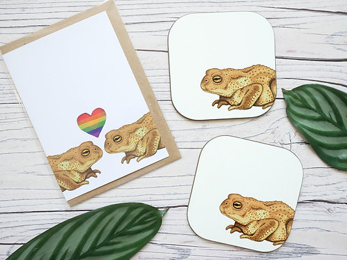 silverpasta toads valentine's day LGBT pride rainbow heart card with two matching coasters