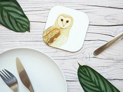Silverpasta illustrated animal 10cm coaster featuring barn owl