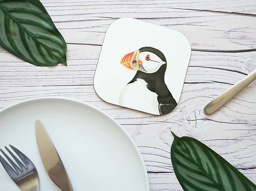 Silverpasta illustrated 10cm coaster featuring puffin