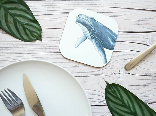 Silverpasta illustrated animal 10cm coaster featuring humpback whale