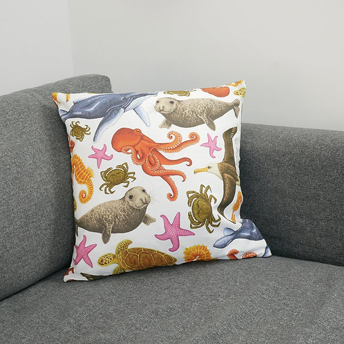 Illustrated Silverpasta marine sea creatures octopus animal wildlife inspired cushion cover made from cotton