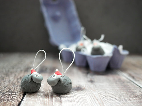 Silverpasta handmade black sheep Christmas tree decoration made from air dry clay and egg box plastic-free packaging