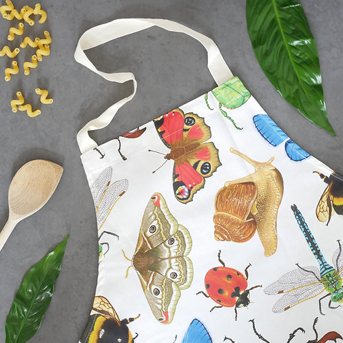 Silverpasta wildlife cotton adult apron illustrated british insects invertebrates butterfly stag beetle dragonfly