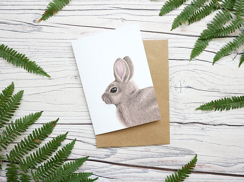 Illustrated rabbit greetings card made from 100% recycled paper and plastic free shipping