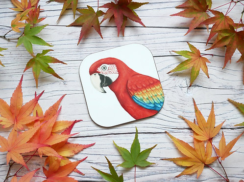 Scarlet red macaw illustrated coaster by Silverpasta Crafts