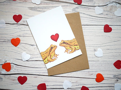 Valentine's day illustrated card with two frogs and a red heart by Silverpasta Crafts