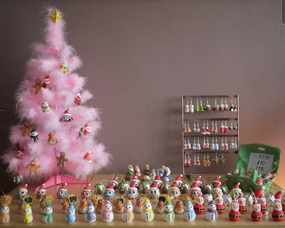 Handmade Christmas tree decorations with a pink tree
