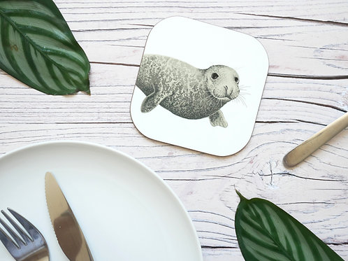 Silverpasta illustrated animal 10cm coaster featuring grey seal