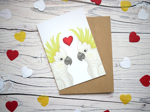 Illustrated valentine's day card featuring two sulphur crested cockatoos and a heart by Silverpasta Crafts