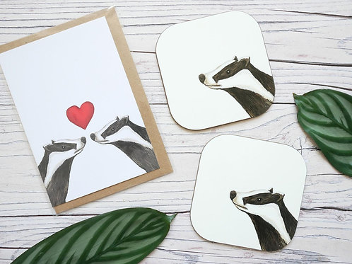 Silverpasta valentine's day badger card made from recycled paper with two matching coasters