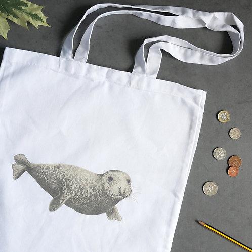 Cotton Silverpasta tote bag illustrated grey seal