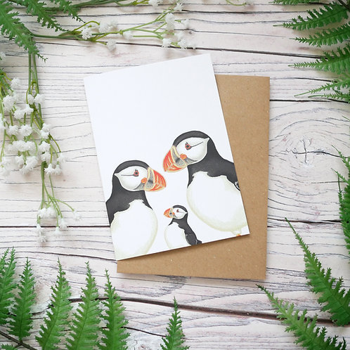 New baby puffin card made from 100% recycled paper designed by Jess Smith from Silverpasta Crafts