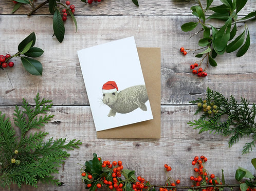 Illustrated grey seal wearing santa hat Christmas card made from recycled paper and eco friendly plastic-free wrapper