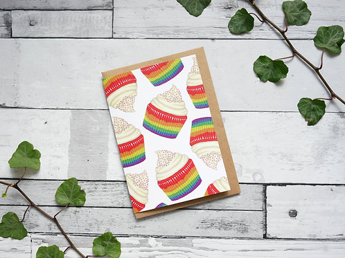 Silverpasta illustrated greetings card made from recycled paper featuring rainbow cupcakes with plastic free packaging