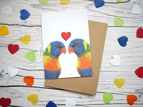 Illustrated valentine's day card featuring two rainbow lorikeets and a heart by Silverpasta Crafts
