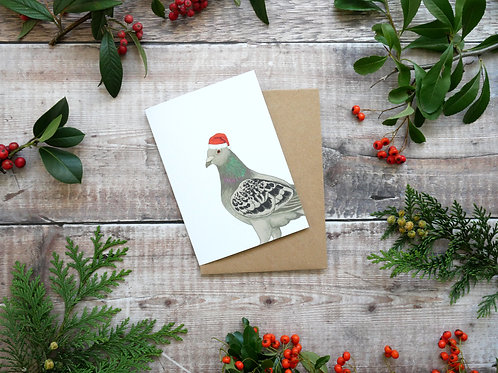 Illustrated pigeon wearing santa hat Christmas card made from recycled paper and eco friendly plastic-free wrapper