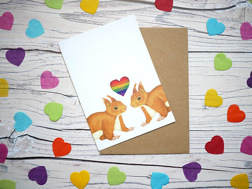 Rainbow valentine's day LGBT red squirrels card by Silverpasta Crafts