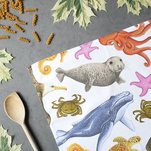 Silverpasta cotton wildlife tea towel featuring marine creatures seal whale octopus crab turtle starfish