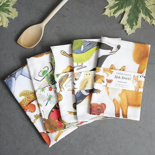 Set of Five Wildlife Tea Towels