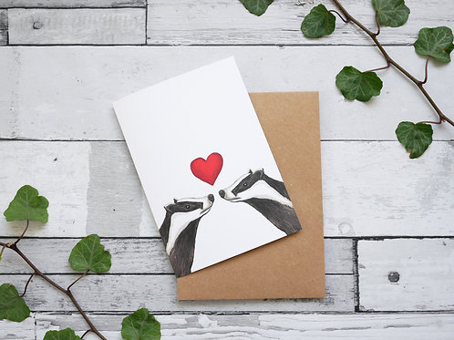 Silverpasta illustrated valentine's day card recycled paper featuring two frogs with heart plastic free packaging