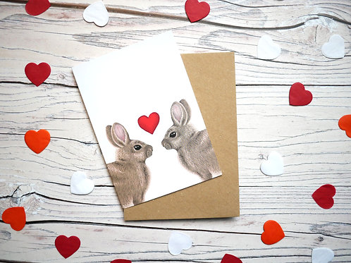 Illustrated Valentine's day with two rabbits and a red heart created by Silverpasta Crafts