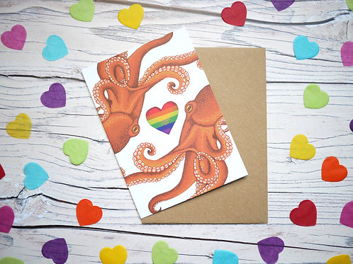Rainbow Octopus LGBT valentine's day illustrated card by Silverpasta Crafts