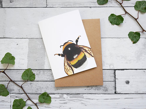 Silverpasta illustrated animal greetings card made from recycled paper featuring a bumblebee with plastic free packaging