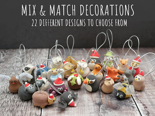 Handmade Mix & Match Christmas Tree Decorations