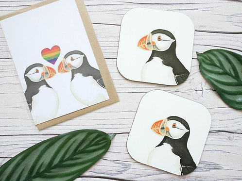 Silverpasta valentine's day puffin LGBT pride rainbow heart greetings card made from recycled paper two matching coasters