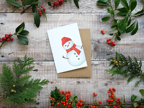 Illustrated festive snowman Christmas card made from recycled paper and eco friendly plastic-free wrapper
