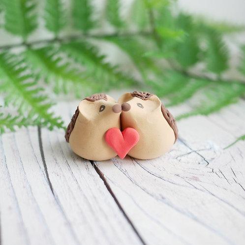 Handmade tiny Valentine's day hedgehog ornament by Jess Smith from Silverpasta Crafts